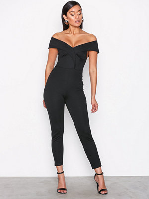 Jumpsuits & playsuits - NLY One Folded Off Shoulder Jumpsuit Svart