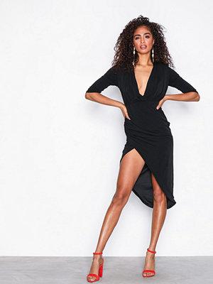 Missguided Slinky Wrap Asymmetric Midi Dress Black