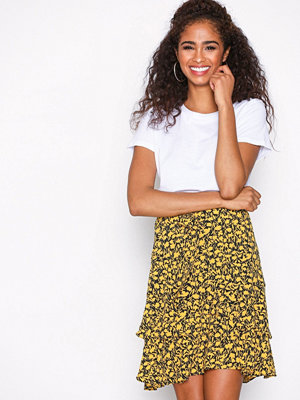 Selected Femme Sflully Mw Skirt Ex Gul Mönstrad