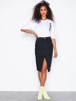 Missguided Split Front Midi Denim Skirt Black