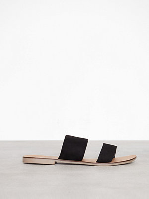 Topshop Hush Two Strap Sliders Black
