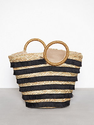 Handväskor - River Island Stripe Weave Bag Black