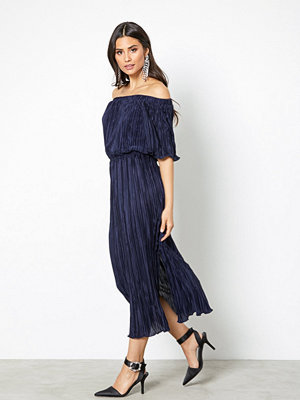 Closet Off The Shoulder Gathered Dress Navy