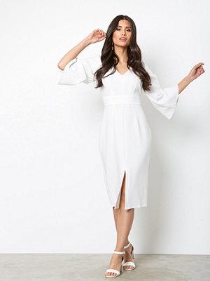 Closet V Neck Midi Dress White