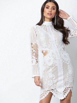 Missguided High Neck Lace Cut Out Dress White