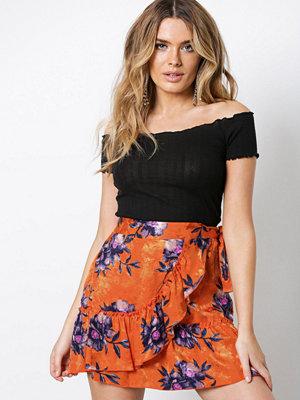 River Island Jacquard Tie Skirt Orange