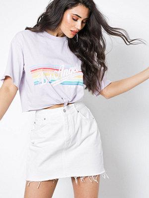Topshop MOTO White Denim Mini Skirt White