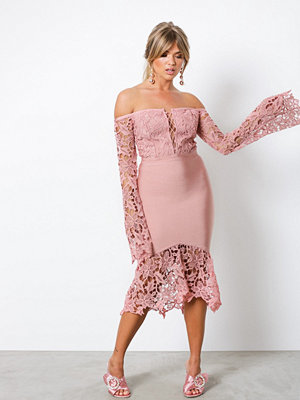 Wow Couture Lace Bell Sleeve Bandage Dress Dusty Pink