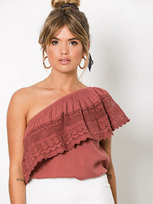 NLY Trend Off Shoulder Blouse Dusty Rose