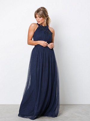 Little Mistress Floral Applique Maxi Dress Navy