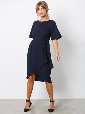 Closet Tie Waist Midi Dress Navy