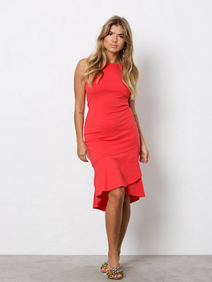 NLY Trend High Neckline Frill Dress Röd