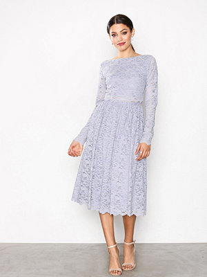 NLY Eve Lace Dream Midi Dress Ljus Grå