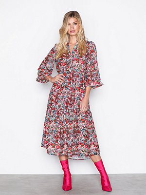 Vero Moda Vmpower Flounce 3/4 Calf Dress Exp Svart