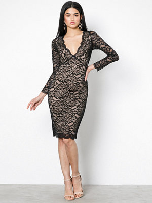 New Look Lace Plunge Midi Dress Black Print