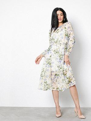 New Look LS Shirr Midi Dress White Print
