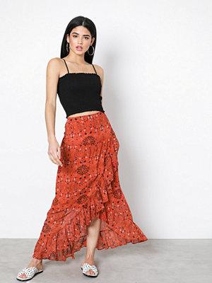 Vila Vinilah L/S Midi Skirt Orange