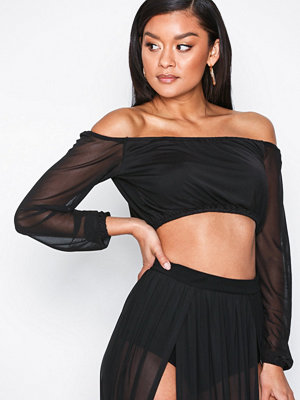NLY One Mesh Off Shoulder Top Svart