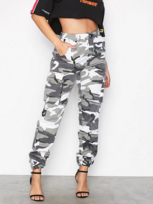 Missguided mönstrade byxor Printed Cargo Trousers Grey