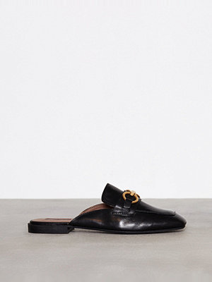 Topshop Leather Backless Loafers Black