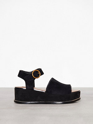 Topshop Platform Wedge Sandals Black