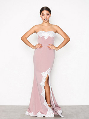 NLY Eve Bandeau Lace Trim Gown Rosa