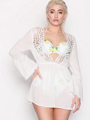 Topshop Crochet Kaftan Dress Cream