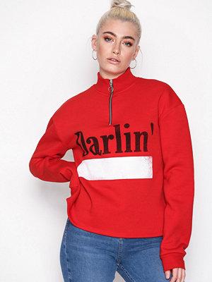 Topshop Slogan Zip Sweatshirt Red