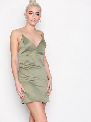 Topshop Diamante Strap Mini Slip Dress Khaki
