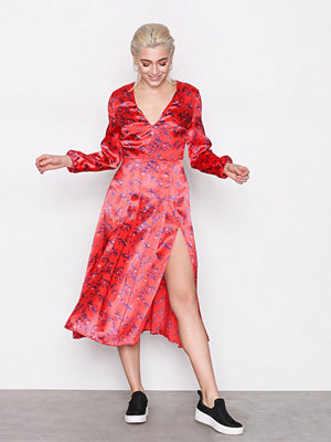 Topshop Wispy Floral Print Midi Dress Red