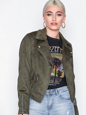 New Look Suedette Biker Jacket Khaki