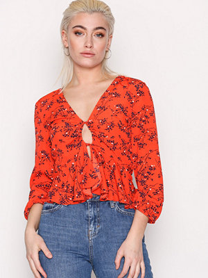 Topshop Floral Print Blouse Red