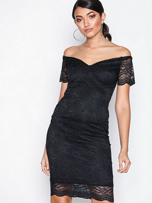 New Look Scalloped Lace Sweetheart Midi Dress Black