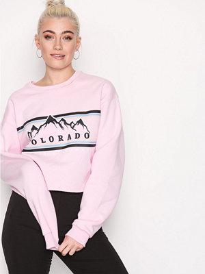 Topshop Colorado Cropped Sweatshirt Pink