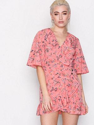 Topshop Off Duty Ruffle Tea Dress Pink