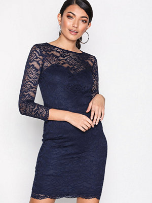 New Look Lace Sweetheart Neck Bodycon Dress Navy