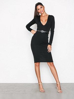 Missguided Ponte Long Sleeve Midi Dress Black