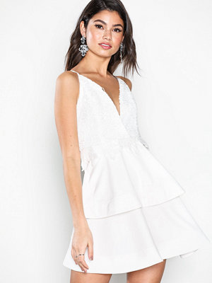 Missguided Crochet Double Layer Plunge Dress White
