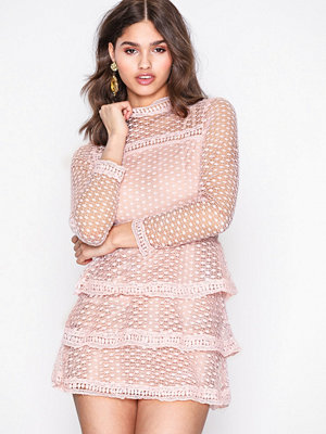 Ax Paris High Neck Flounce Skater Dress Pink
