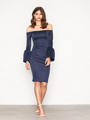 Missguided Flared Sleeve Midi Dress Navy