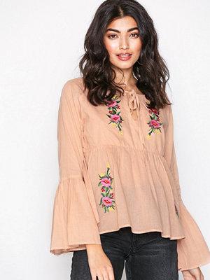Glamorous Floral Long Sleeve Blouse Blush