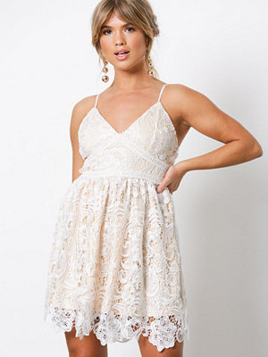 Missguided Premium Lace Skater Dress Light Beige