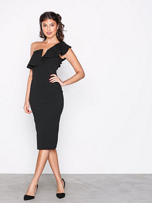 Missguided One Shoulder Frill Midi Dress Black
