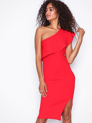 Missguided One Shoulder Frill Detail Dress Red