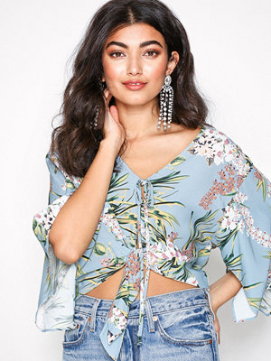 River Island Short Sleeve Crop Top Blue Floral