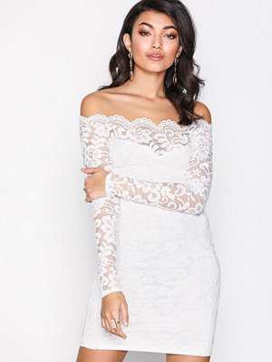 NLY One Lace Off Shoulder Dress Vit