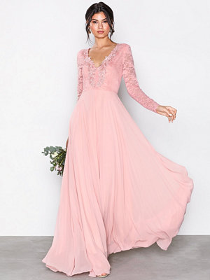 U Collection Long Sleeve Detail Dress Dusty Pink