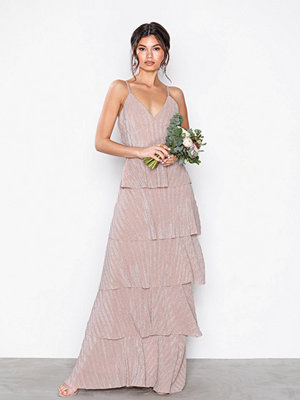 U Collection Strappy Tiered Maxi Dress Pink Glitter