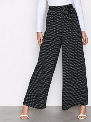 NLY Trend svarta mönstrade byxor Tie Waist Palazzo Pants Svart Mönstrad