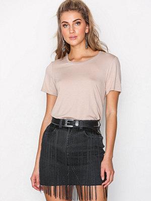 Missguided Fringe Detail Denim Skirt Black